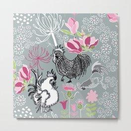 Magnolia Roosters Metal Print