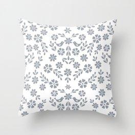 Silver gray symmetric floral bird heart Throw Pillow