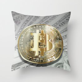 Bitcoin with dollar bills, cryptocurrency concept Throw Pillow