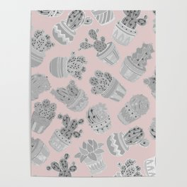 Modern silver blush pink trendy cactus floral Poster