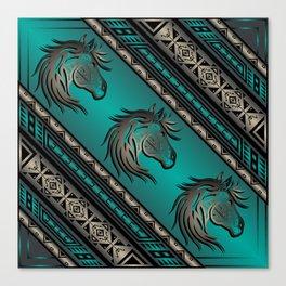 Horse Nation (Aqua) Canvas Print