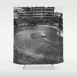 Mowing The Lawns In A Circle Shower Curtain
