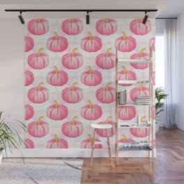 Hello, Pumpkin   Cute and Fun Watercolor Illustration and Pattern in Rose Pink and Gold Colors Wall Mural