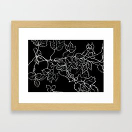 White ink, graphic, black cardboard, nature drawing maple leaves Framed Art Print