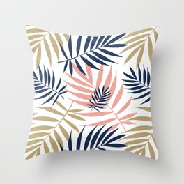 Tropical Palm Leaf Pattern – Pink, Gold, Indigo Throw Pillow