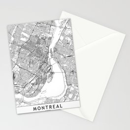 Montreal White Map Stationery Cards