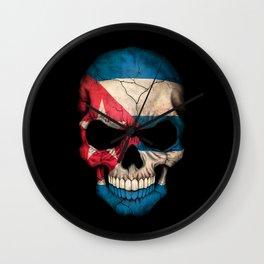 Dark Skull with Flag of Cuba Wall Clock