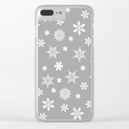 Snow Flurries-Light Gray Clear iPhone Case