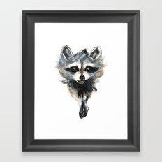 Raccoon stealing seeds! Framed Art Print