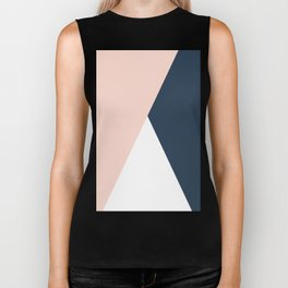 Elegant blush pink & navy blue geometric triangles Biker Tank