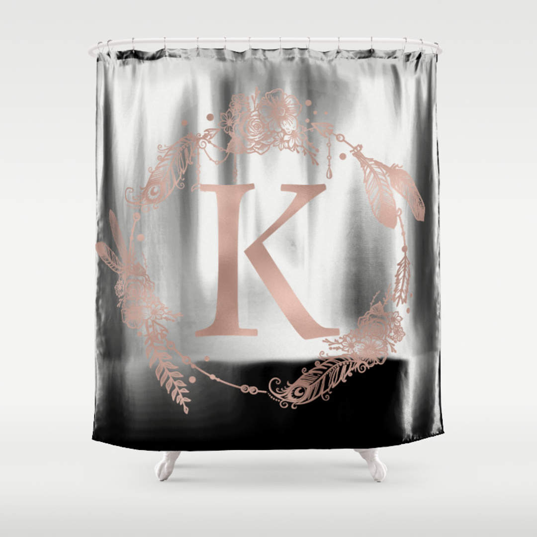Black and white monogrammed shower curtain - Monogrammed Shower Curtains