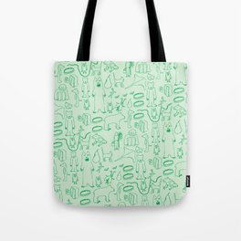green montage Tote Bag