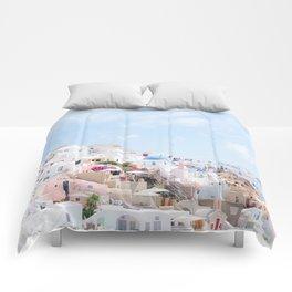 Pastel Colored View on Santorini Greece Comforters