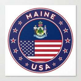 Maine, Maine t-shirt, Maine sticker, circle, Maine flag, white bg Canvas Print