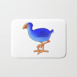 Prancing Pukeka. Native New Zealand Birds - swamphen - cute birds - blue birds Bath Mat