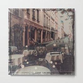 Cafe Street Scene, Paris Metal Print