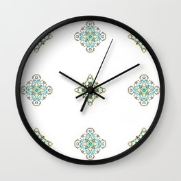Turquoise With A Tough Of Gold Pattern Wall Clock