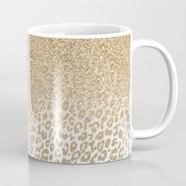 Trendy Gold Glitter and Leopard Print Gradient Design Coffee Mug
