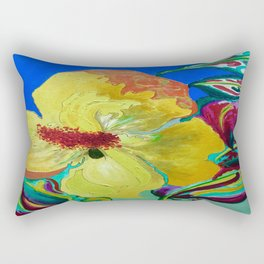 Birthday Acrylic Yellow Orange Hibiscus Flower Painting with Red and Green Leaves Rectangular Pillow