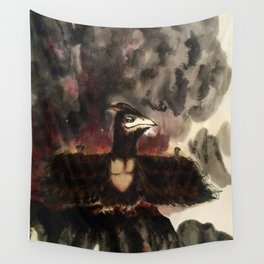 Monsters destroy the city - Yellowbox ink painting Wall Tapestry