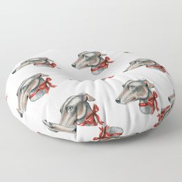 Greyhound, lurcher, whippet dog with red bowtie Floor Pillow