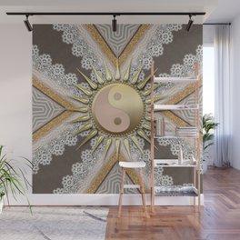 Sunny Yin Yang Gold Lace Wall Mural
