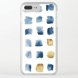 Watercolor Indigo Gold Geometrical Squares Pattern Clear iPhone Case