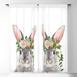 Baby Rabbit, Bunny With Flower Crown, Baby Animals Art Print By Synplus Blackout Curtain