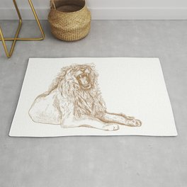 Back Off, Please in Gold | Roaring Lion Drawing Rug