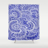 navy Shower Curtains featuring Navy by Samantha Jeffrey