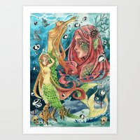 mermaids Art Prints featuring Mermaids by rumpelstiltskinned