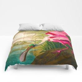 Roseate Spoonbill Bird pink Comforters