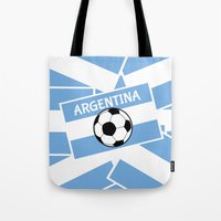football Tote Bags featuring Argentina Football by mailboxdisco
