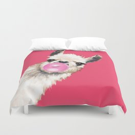 Bubble Gum Sneaky Llama in Red Duvet Cover