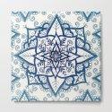 Blue Floral Pattern on Cream by laurelmae
