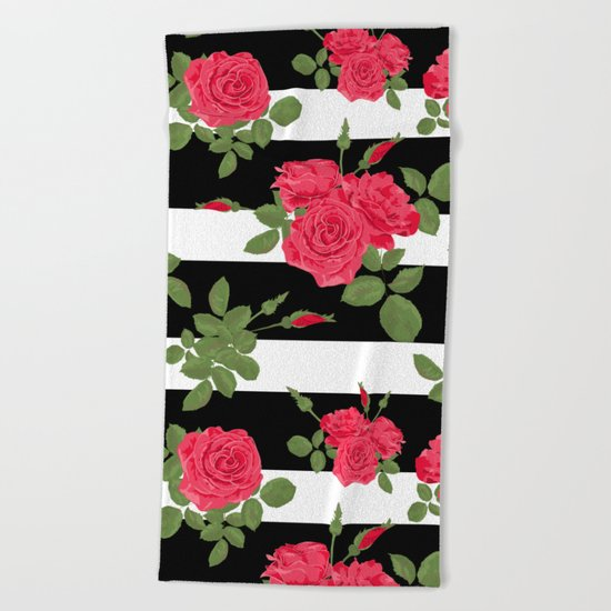 Red roses with horizontal stripes black white Beach Towel