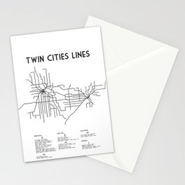Twin Cities Lines Map Stationery Cards