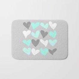 Mint white grey grunge hearts Bath Mat