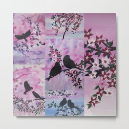 pink sakura themes watercolor painting with birds and Japanese style blossoms Metal Print