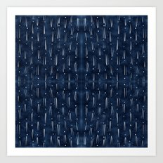 Indigo With White Dashes Art Print