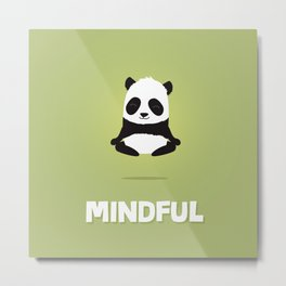 Mindful panda levitating Metal Print