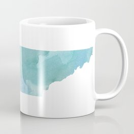 Watercolor State Map - Tennessee TN blue greens Coffee Mug