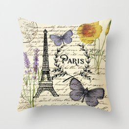 french botanical print purple butterfly lavender floral paris eiffel tower Throw Pillow