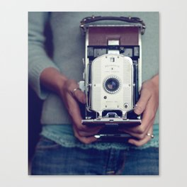 her camera Canvas Print