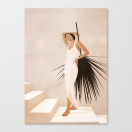 Minimal Woman with a Palm Leaf Canvas Print