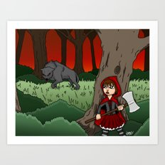 Little Red Riding Hood Versus Big Bad Wolf Art Print