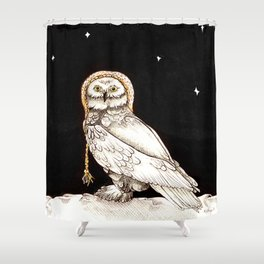 Starry Night Owl Shower Curtain