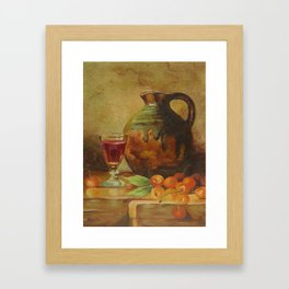Still Life Wine and Fruit Framed Art Print