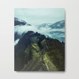 Forest Mountains Blue Sky Metal Print