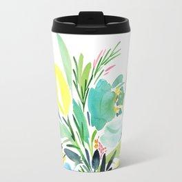 74. yellow turquoise watercolor flowers Travel Mug